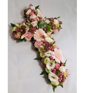 Fleuriste Leloup-Croix de fleurs variées