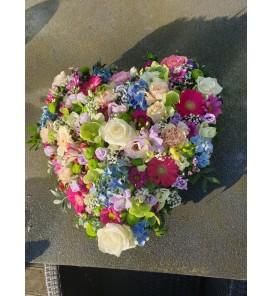 Fleuriste Leloup-Le grand coeur de fleurs variées
