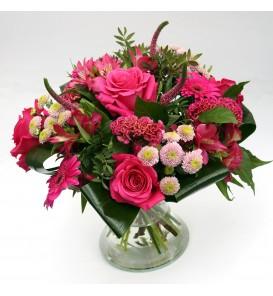 "Boeket ""Louise"" Fuchsia roze"