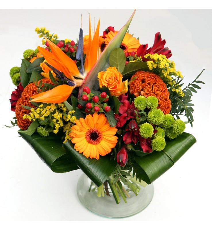 """Fleuriste Leloup-Bouquet """"Manon"""" Orange et rouge"""