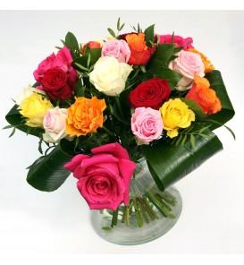 """Fleuriste Leloup-Bouquet """"Danielle"""" de roses variées"""