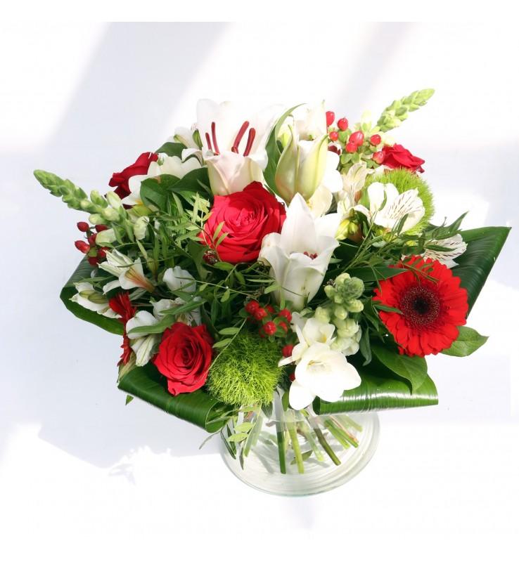 """Fleuriste Leloup-Bouquet """"Coraline"""" Blanc et rouge"""
