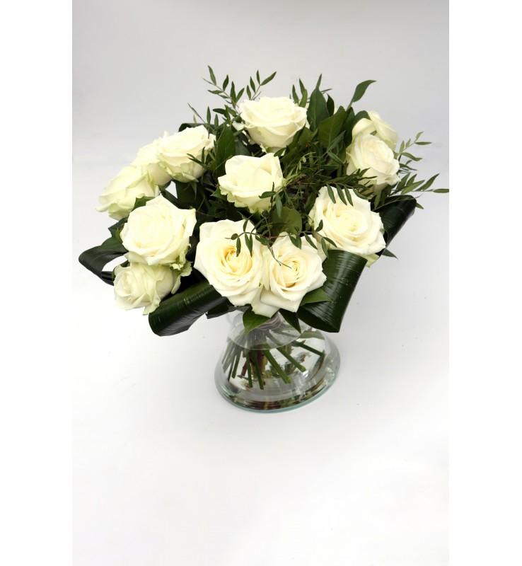 """Fleuriste Leloup-Bouquet """"?"""" de roses blanches"""