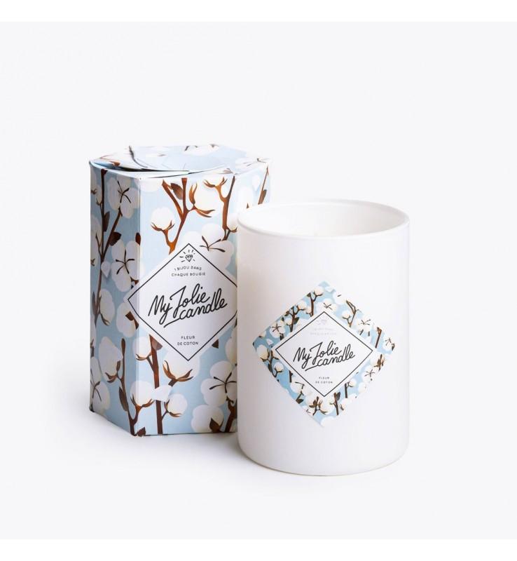 Fleuriste Leloup-Bougie bijoux - fleur de coton (b-a)