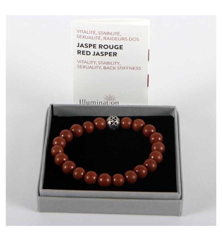 Fleuriste Leloup-Jaspe Rouge de 8mm/Taille 1 - Lithothérapie Bracelet