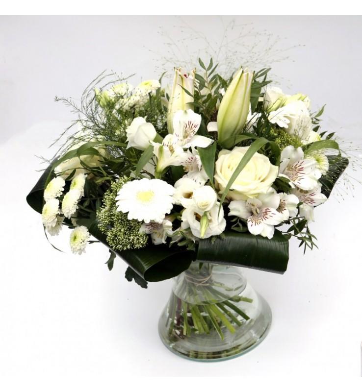 """Fleuriste Leloup-Bouquet """"Priscilla"""" Blanc"""